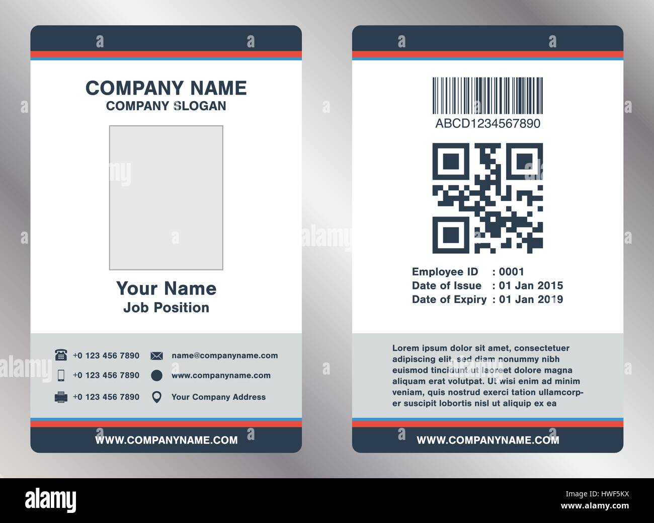 simple employee business name card template vector Stock Vector ...