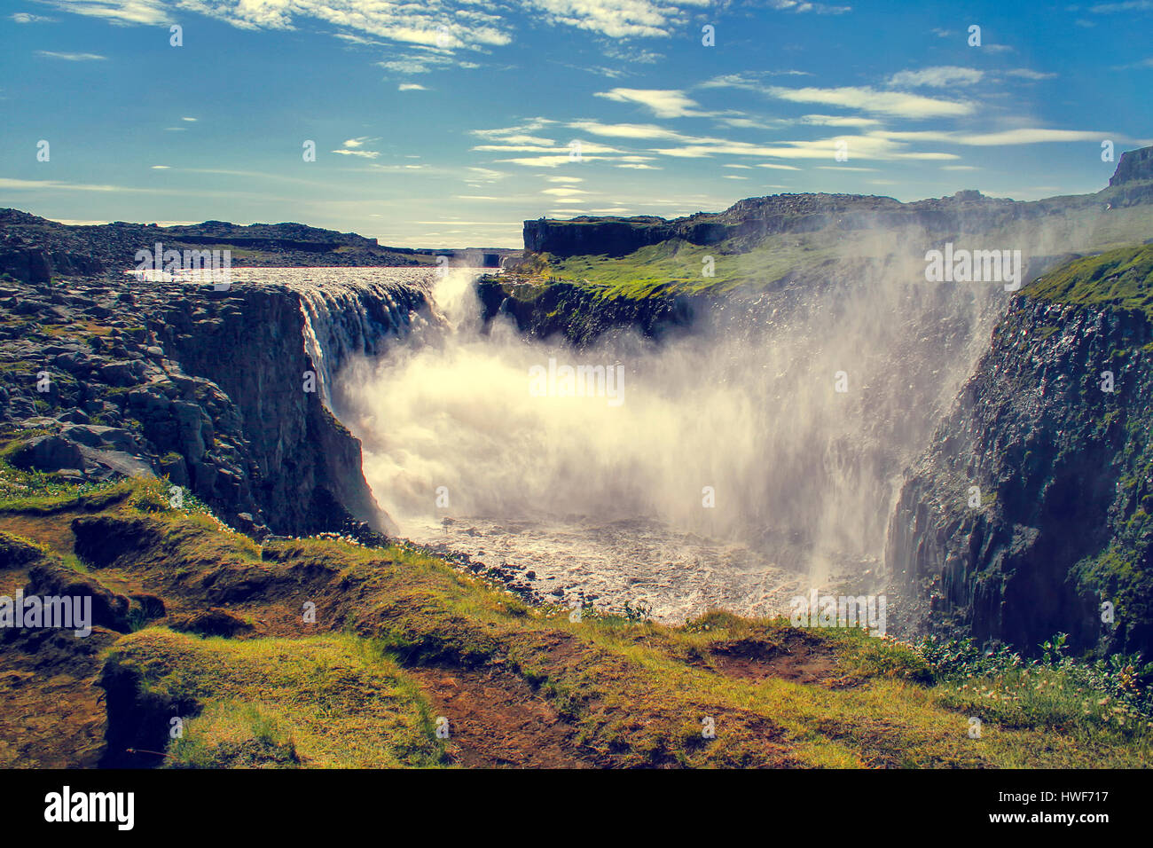 Dettifoss waterfall (Iceland). It is the largest waterfall in ... | title | waterfall terms