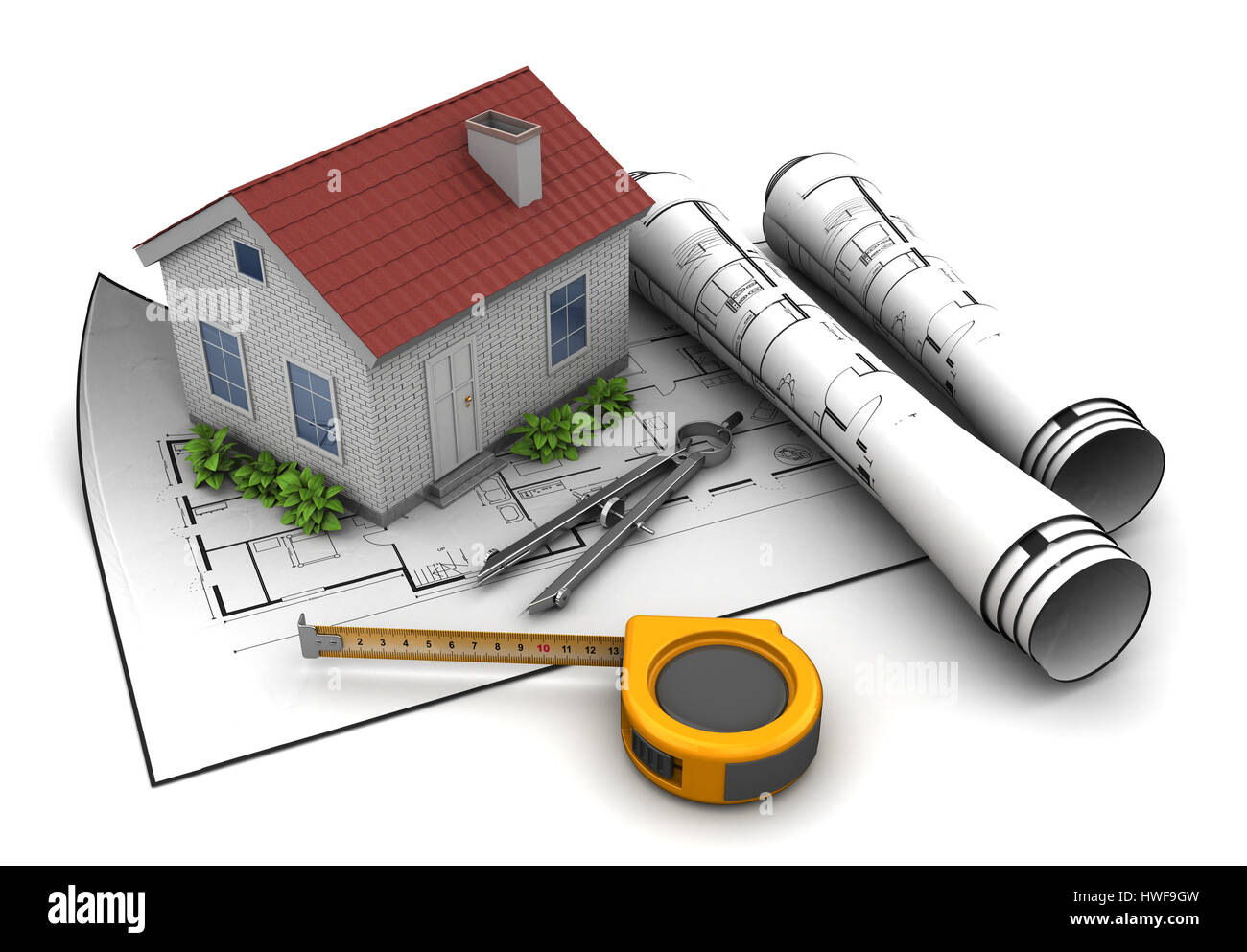 3d illustration of house model and blueprint over white background 3d illustration of house model and blueprint over white background malvernweather Choice Image