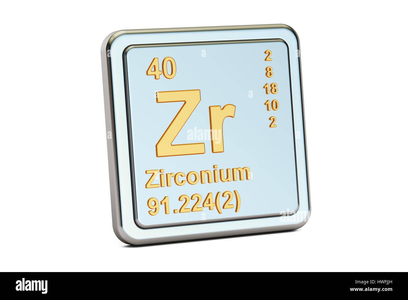 Zirconium zr chemical element sign 3d rendering isolated on stock photo zirconium zr chemical element sign 3d rendering isolated on white background gamestrikefo Images