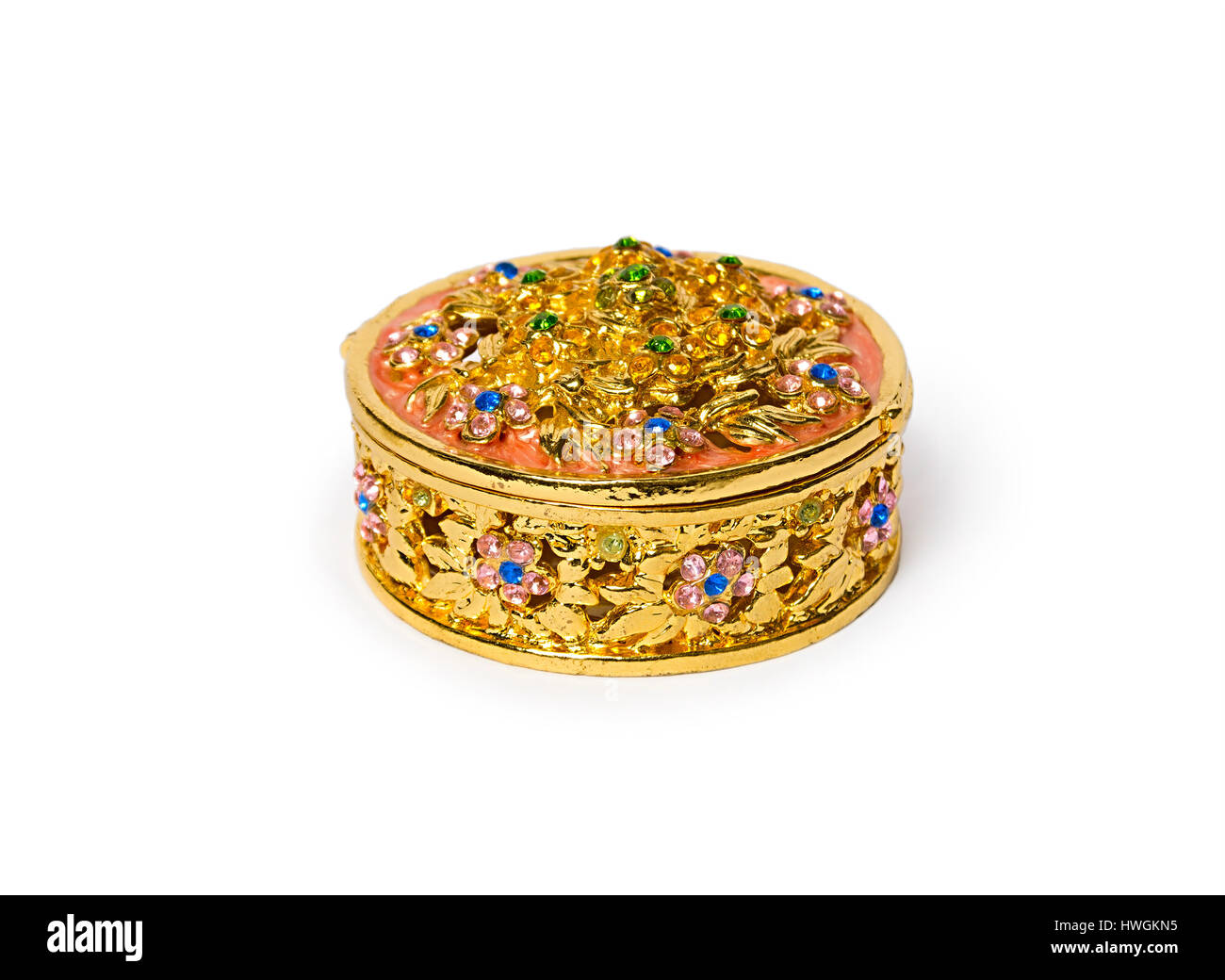 Jewelry box. Casket of gold with precious stones. Beautiful ...