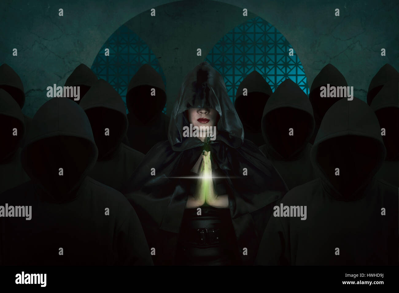 asian witch woman inside old castle in the dark room praying with