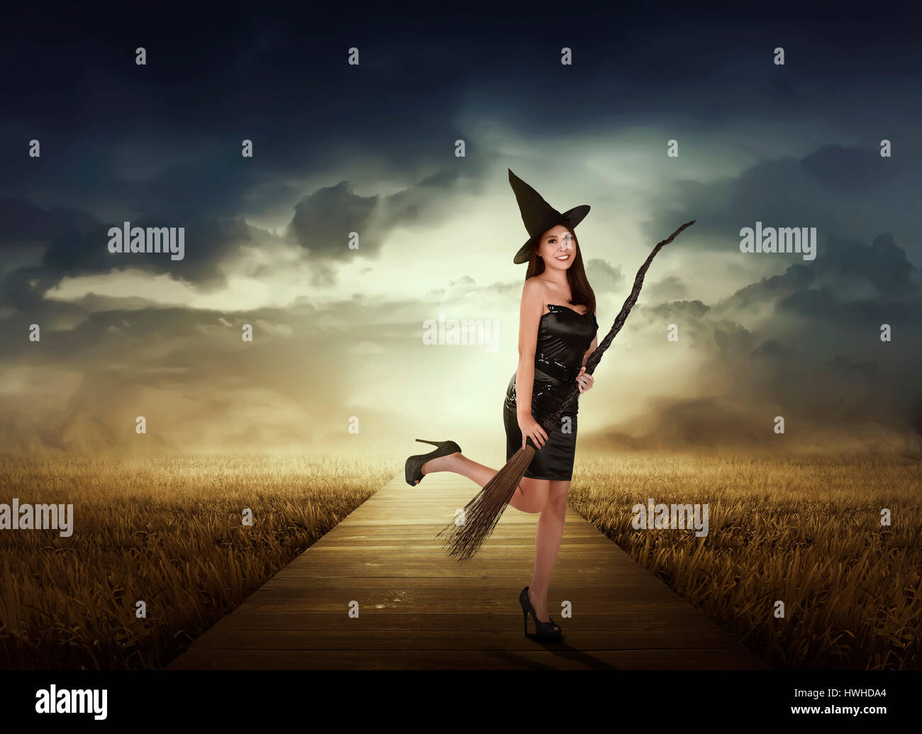 Black halloween witch on broom stock photos black halloween beautiful asian witch woman with black hat holding broom on the meadow stock image biocorpaavc