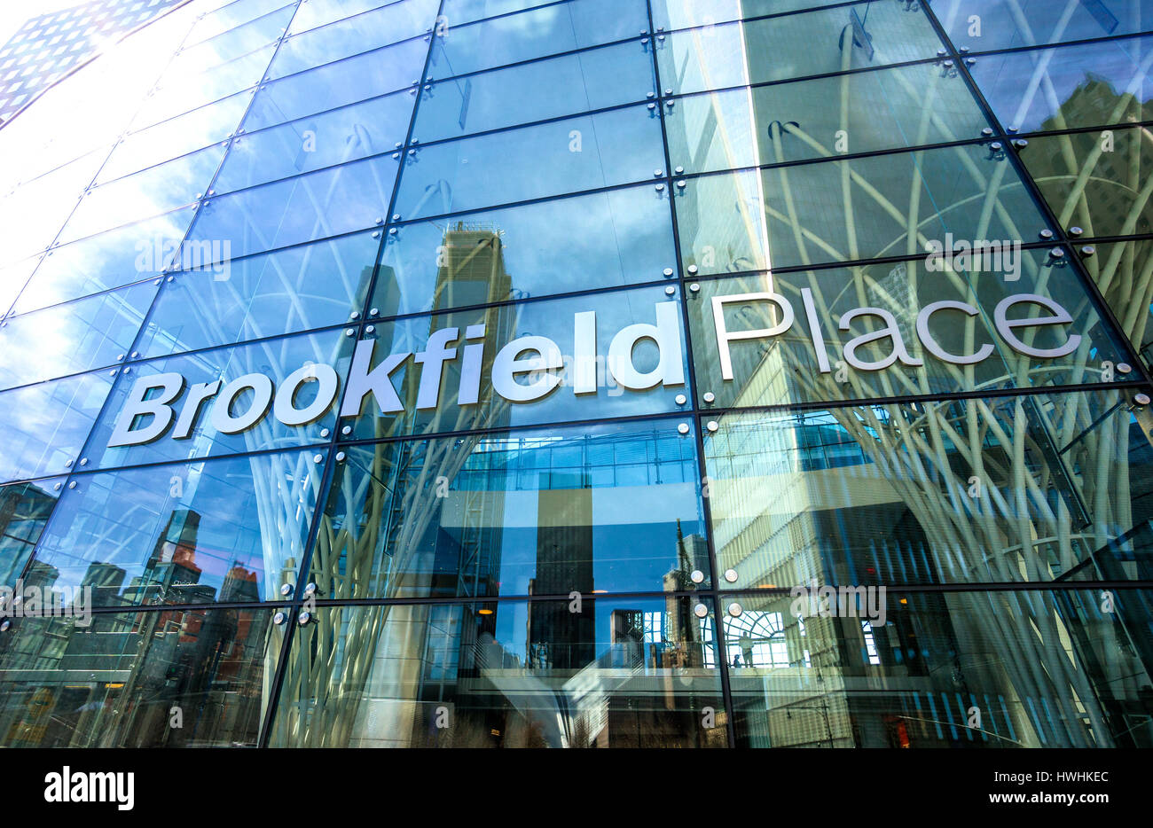 the front of brookfield place in the new york financial district