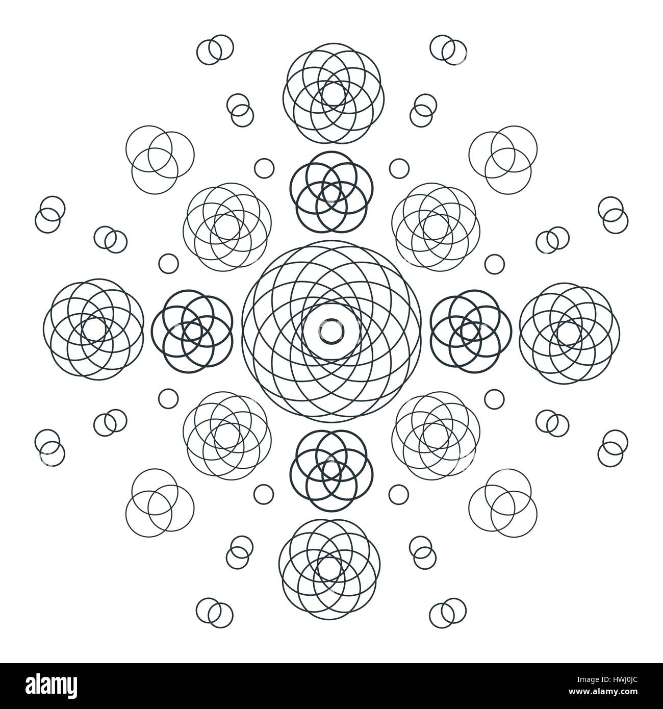 vector circles abstract sacred geometry decoration sign black