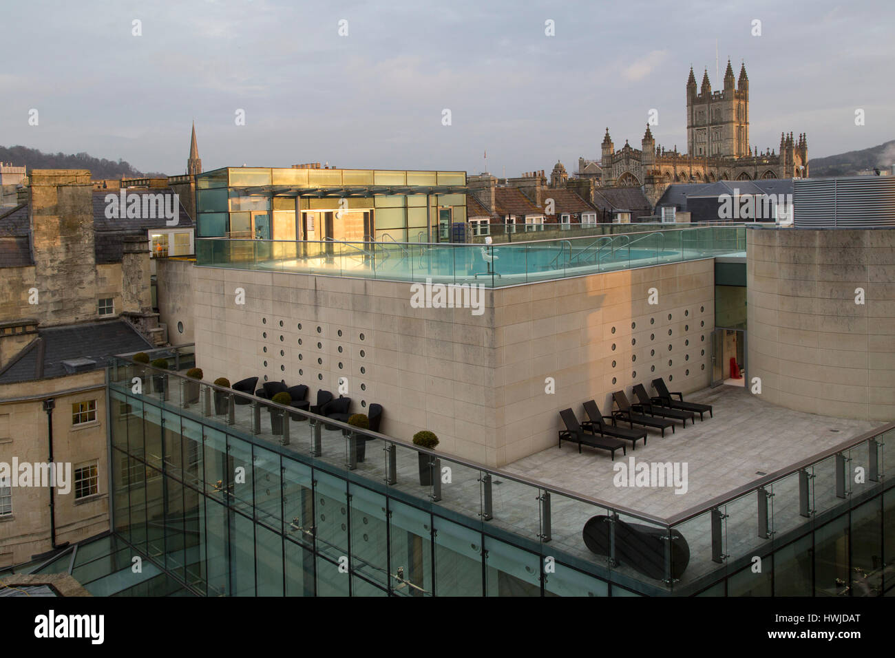 The Rooftop Thermae Bath Spa In Bath, England. The Tower Of Bath Abbey  Overlooks The City Centre Attraction