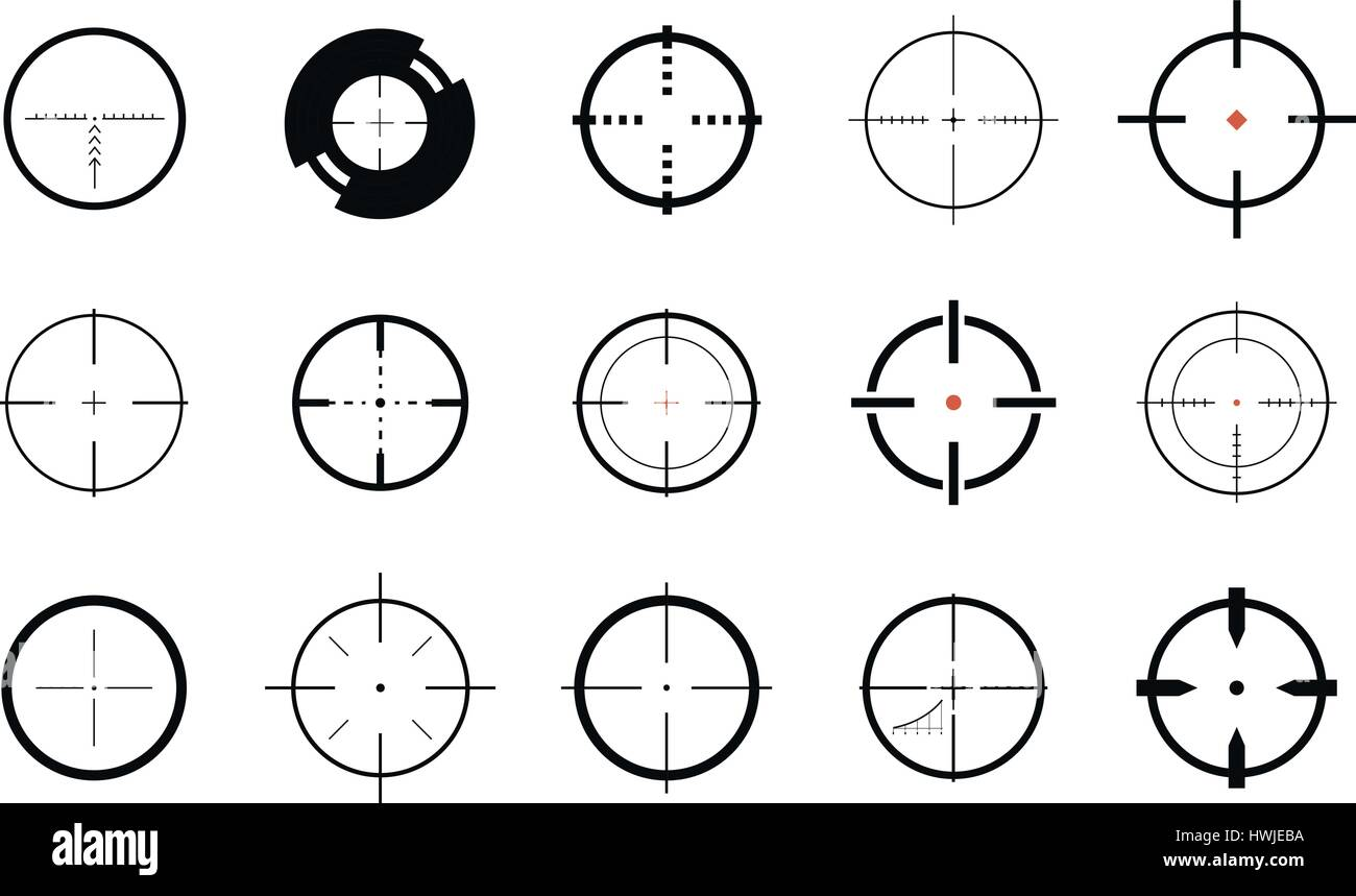 Sniper sight symbol crosshair target set of icons vector stock sniper sight symbol crosshair target set of icons vector illustration buycottarizona Image collections
