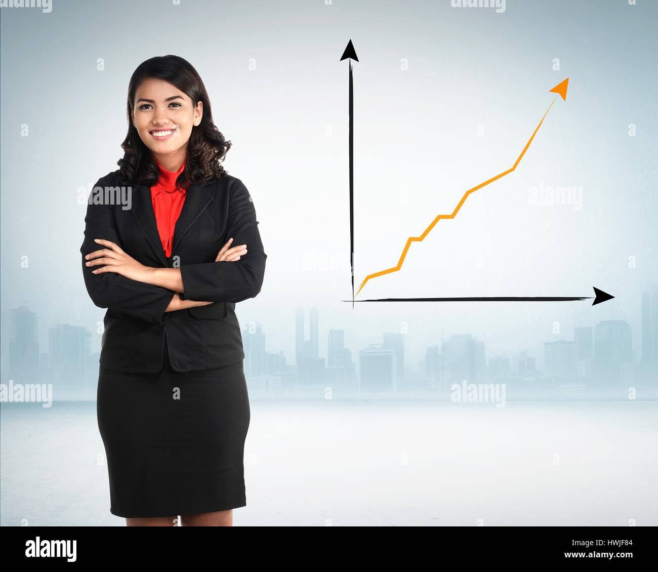 Successful asian business woman over increasing sales ...