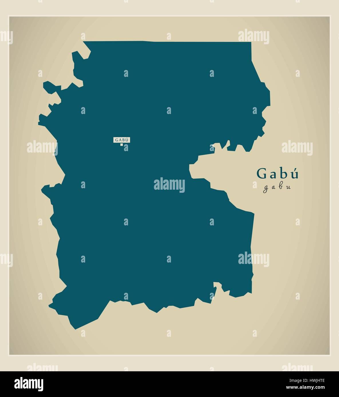 Modern Map Gabu GW Stock Vector Art Illustration Vector Image