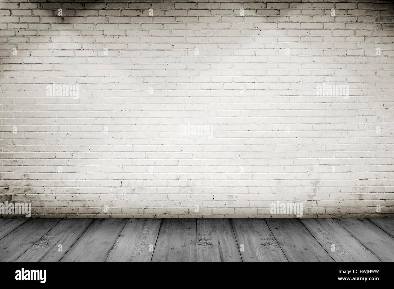 white wood floor background. Room Interior Vintage With White Brick Wall And Wood Floor Background W