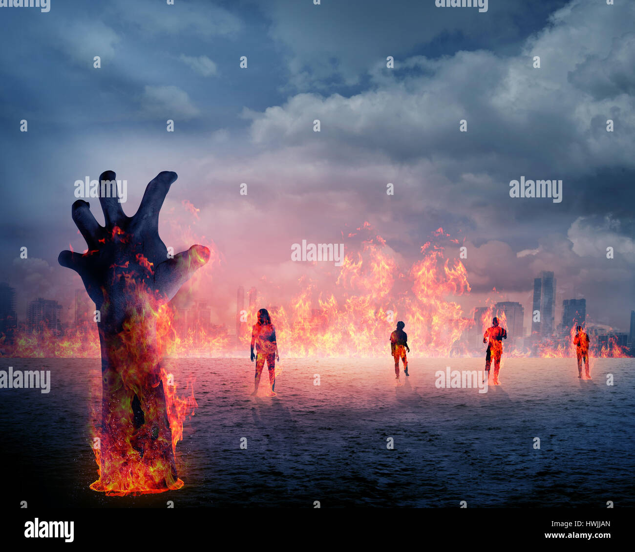 Spiritual Apocalypse Monstrosity: Zombie Hand With Fire Rising From The Ground. Halloween