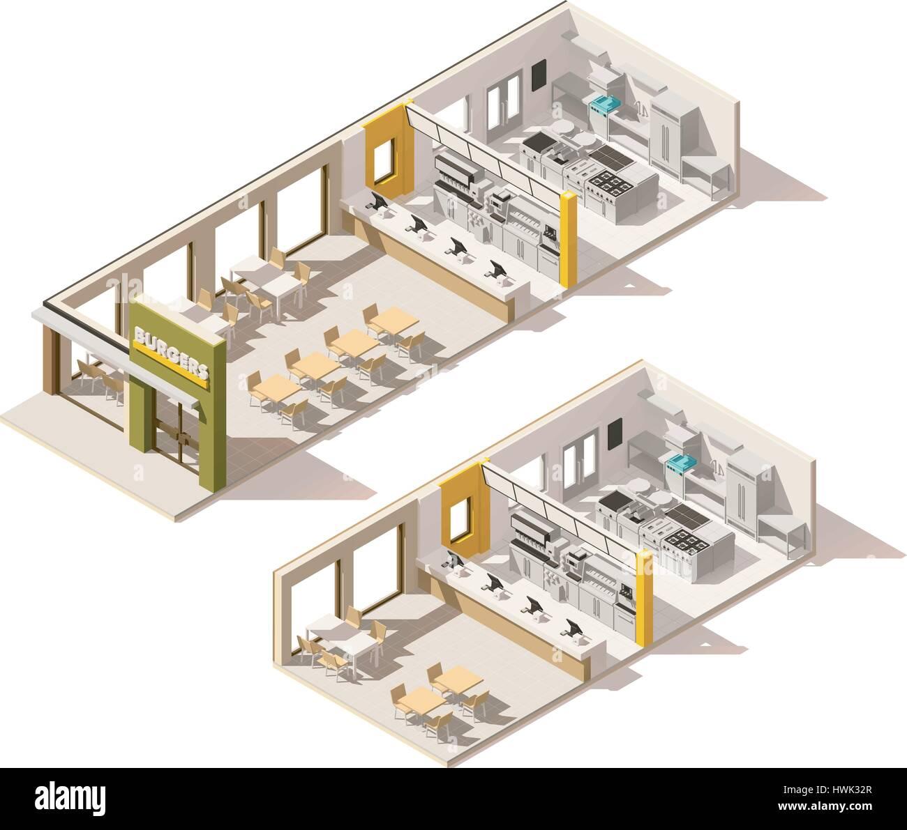 vector isometric low poly fast food restaurant stock vector art illustration vector image. Black Bedroom Furniture Sets. Home Design Ideas