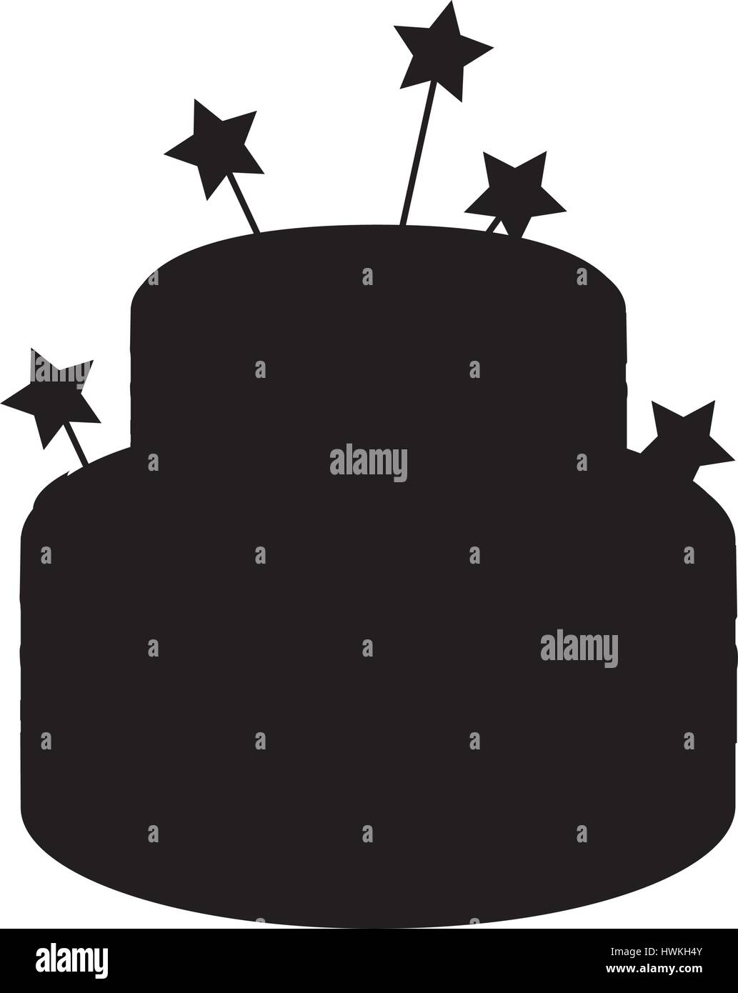 silhouette of birthday cake with candles icon over white ...
