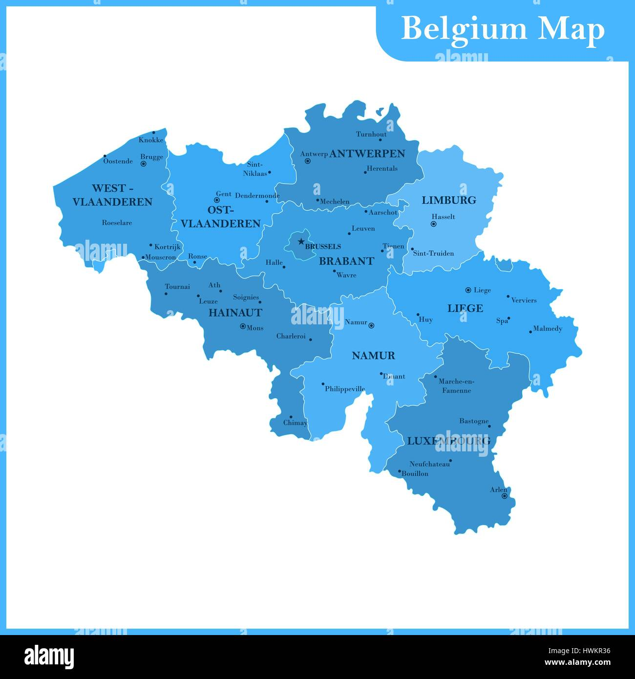 the detailed map of the belgium with regions or states and cities capitals