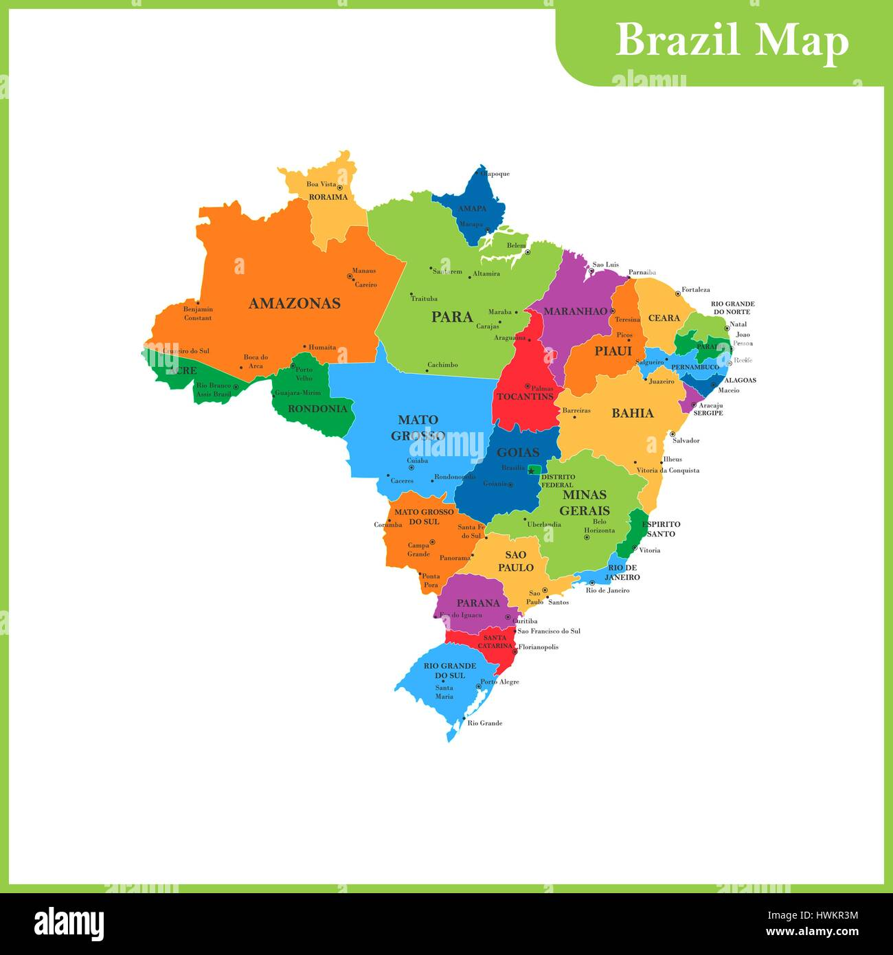 The Detailed Map Of The Brazil With Regions Or States And Cities - Map of brazil with cities