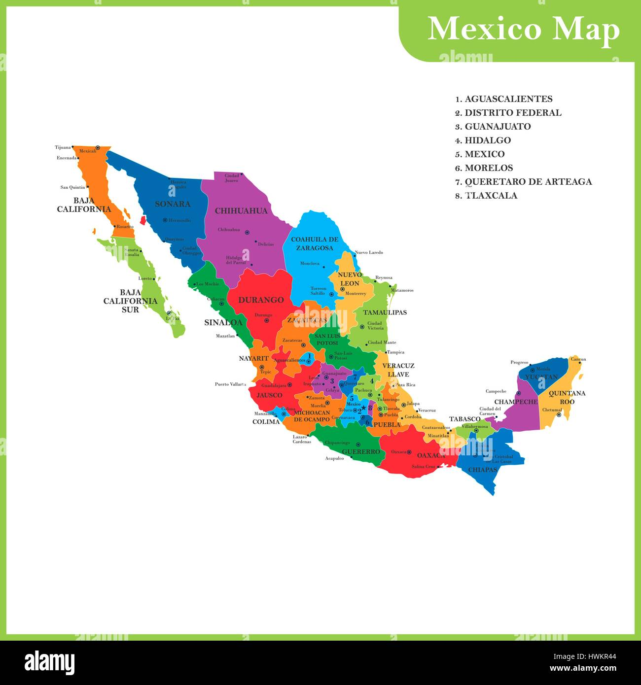 The Detailed Map Of The Mexico With Regions Or States And Cities - Mexico regions map