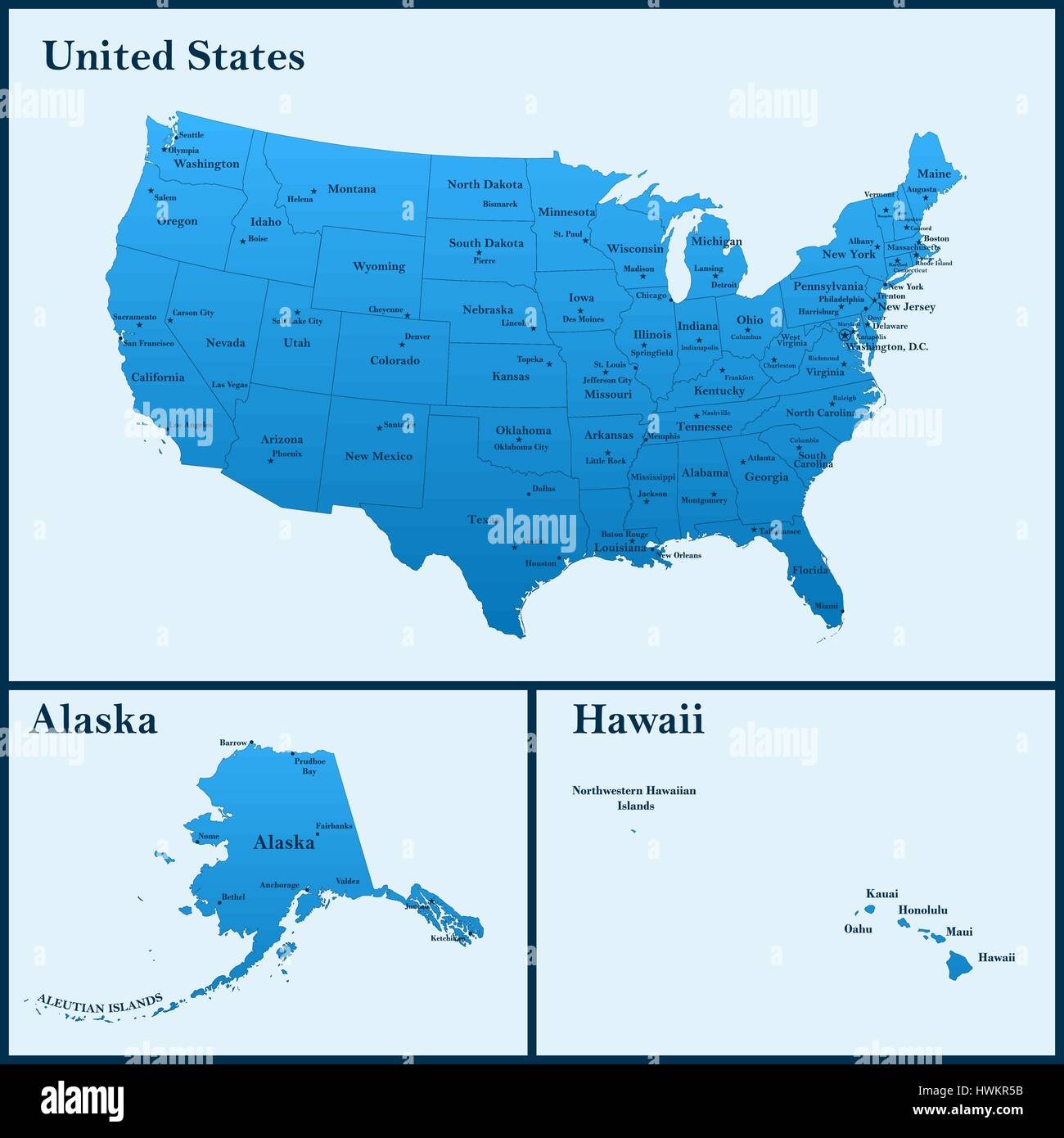 The detailed map of the usa including alaska and hawaii the the detailed map of the usa including alaska and hawaii the united states of america with the capitals and the biggest cities gumiabroncs Choice Image