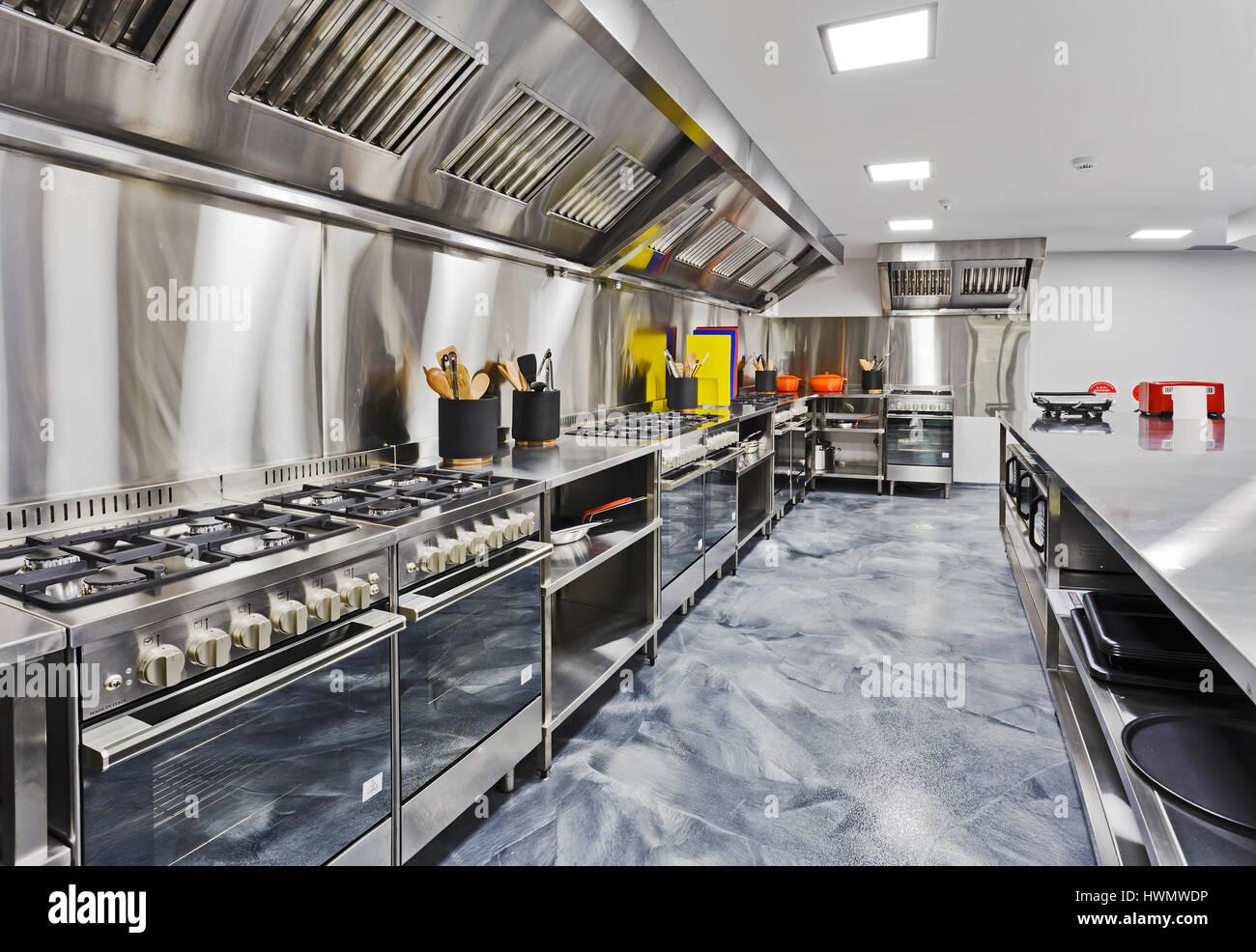 Restaurant Kitchenware modern shiny kitchen with stainless still kitchenware and