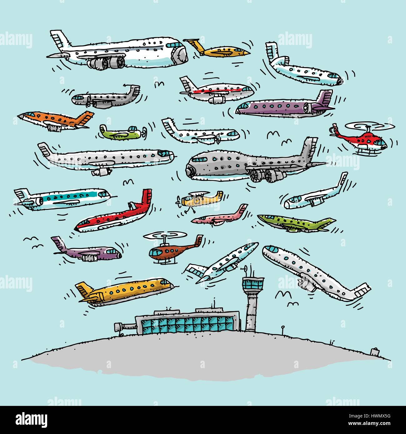 a cartoon of airspace above an airport crowded with a variety of
