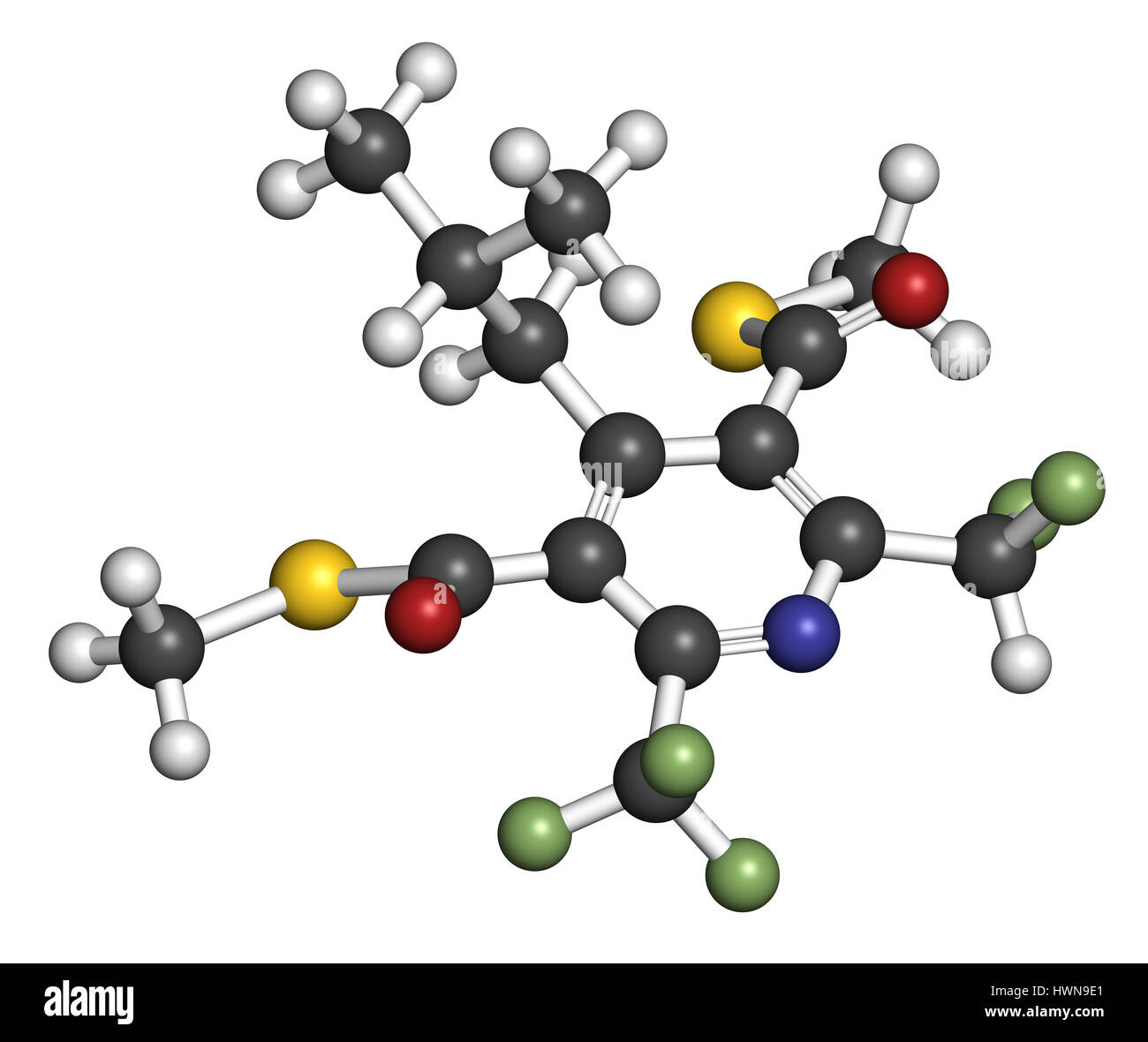 dithiopyr preemergent herbicide molecule 3d rendering atoms are represented as spheres with color coding hydrogen white carbon gre - Preemergent Herbicide