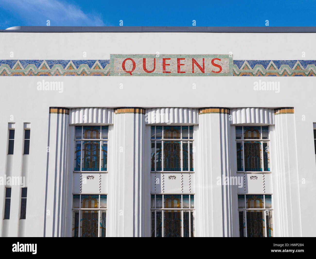 Original Art Deco Facade Of The Old Queens Cinema