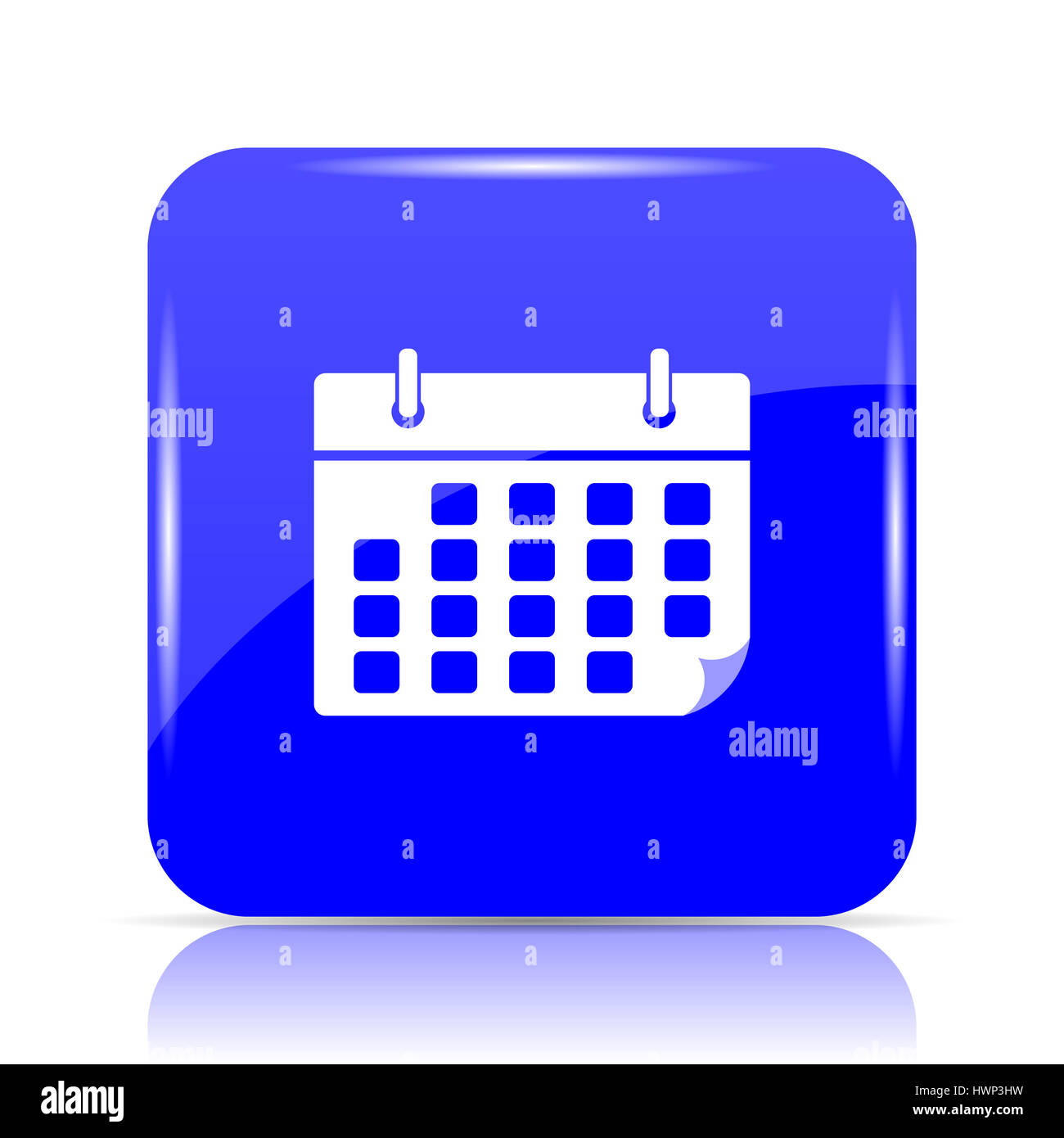 Calendar Icon Blue : Calendar icon blue website button on white background