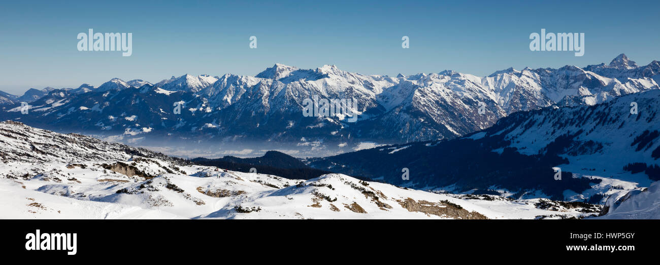 alpine panorama view from hahnenk pfle kleinwalsertal allg u alps stockfoto lizenzfreies. Black Bedroom Furniture Sets. Home Design Ideas