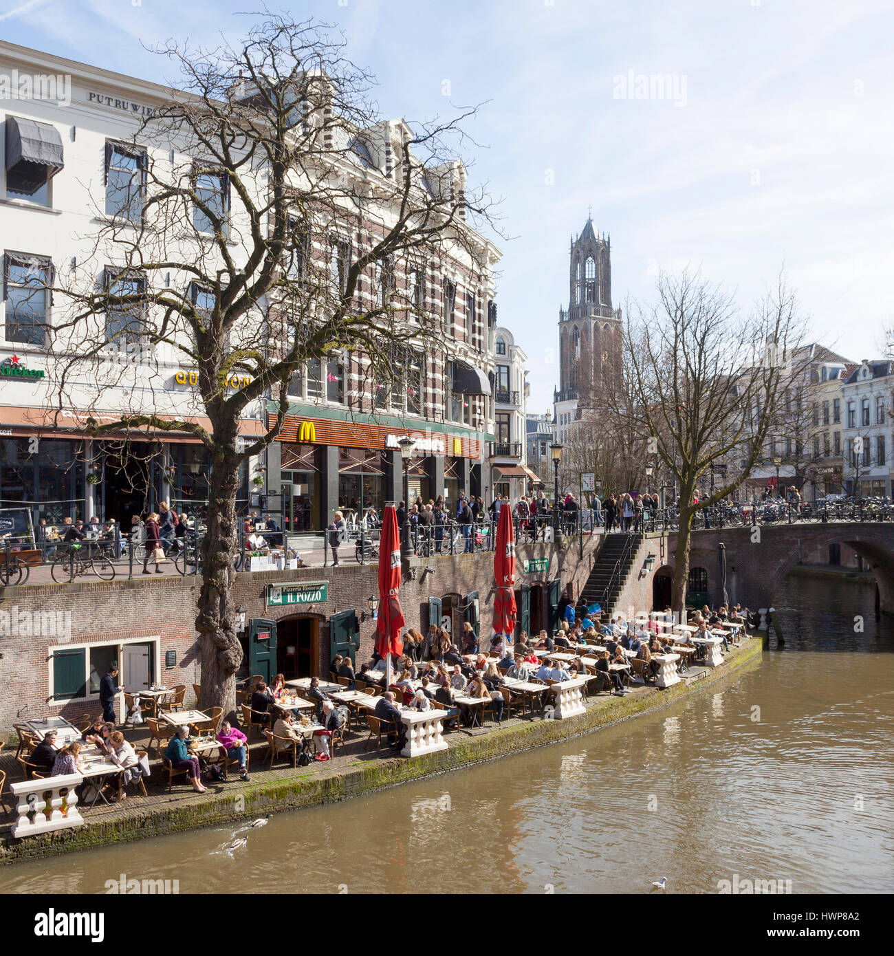 utrecht, netherlands, 15 march 2017: people enjoy sunny day in