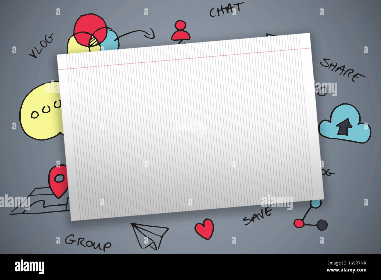 Single Lined Blank Paper Against Dark Grey Background  Lined Blank Paper