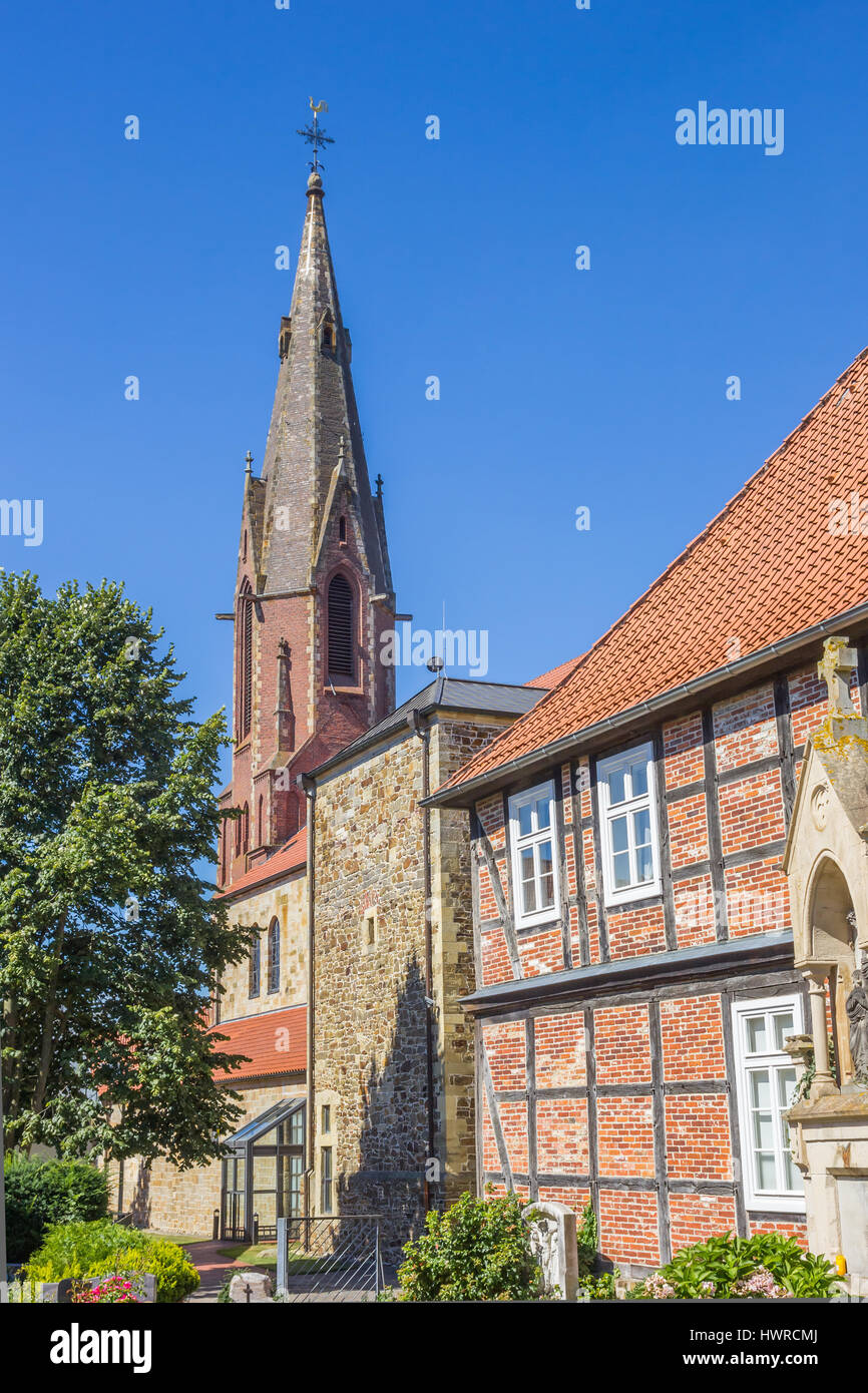 St Marien Church And Old House In Quakenbruck Germany Stock - Quakenbruck germany map