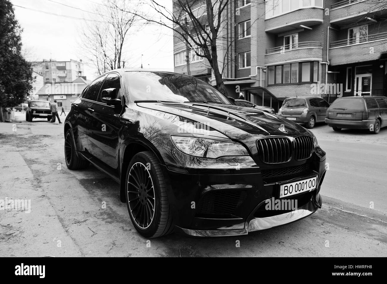 kiev ukraine march 22 2017 black bmw x6 m performance. Black Bedroom Furniture Sets. Home Design Ideas