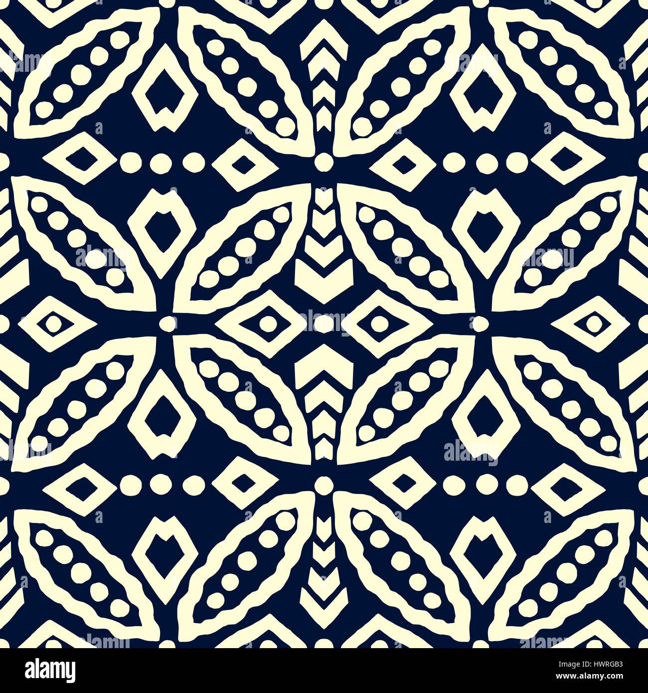 Traditional block printed geometric ornament, handmade Russian motif with  circular and rhomboid shapes. Ecru
