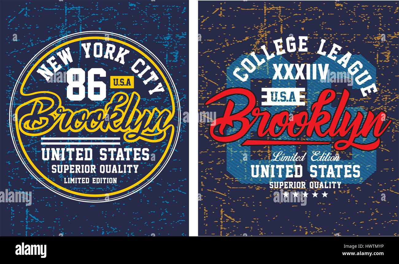 T shirt poster design - Stock Vector Vintage Brooklyn New York Typography Design For T Shirt Poster Vector