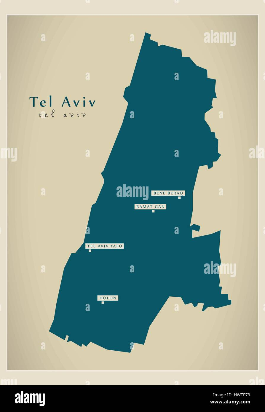 Modern Map Tel Aviv IL Stock Vector Art Illustration Vector
