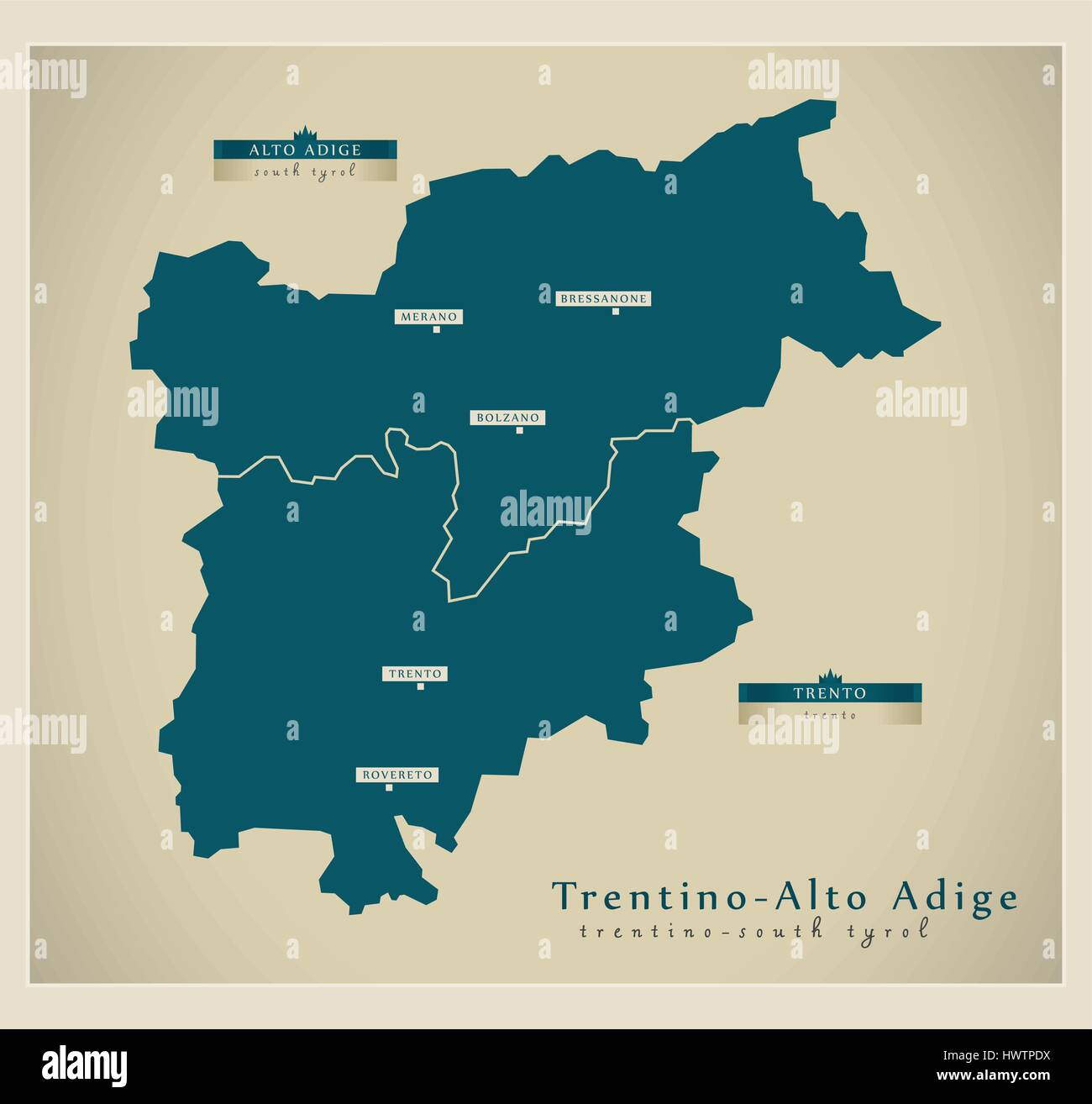 Modern Map TrentinoAlto Adige IT Stock Vector Art Illustration