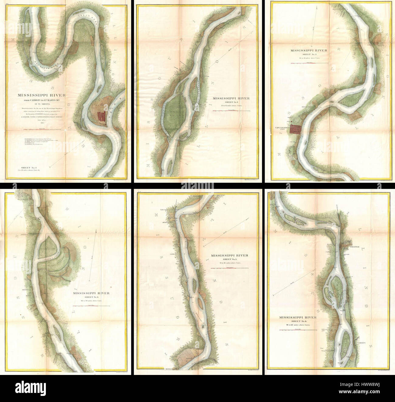 US Coast Survey Map Of The Mississippi River From Cairo IL - Us map mississippi river