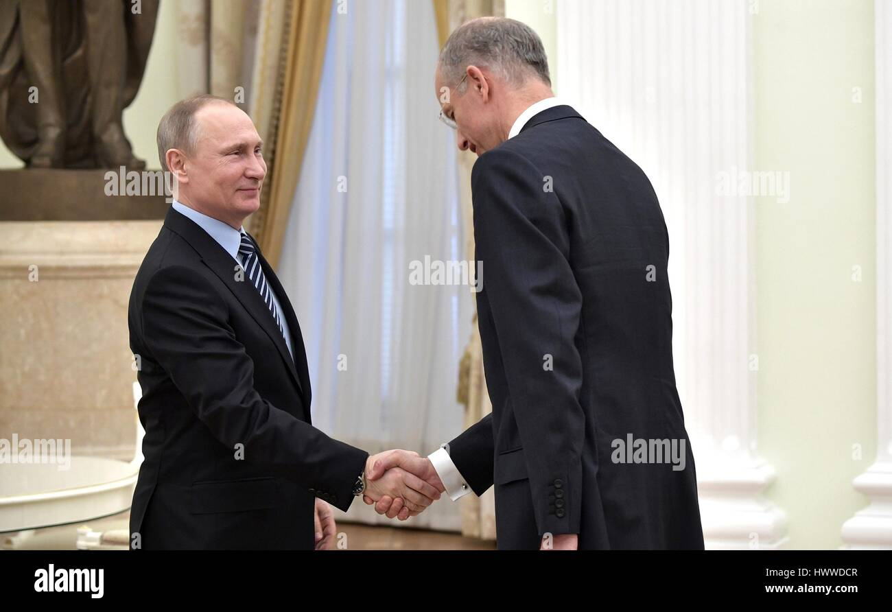 Moscow russia 23rd march 2017 russian president vladimir putin moscow russia 23rd march 2017 russian president vladimir putin greets basf group ceo kurt bock during a meeting at the kremlin march 23 2017 in moscow kristyandbryce Images