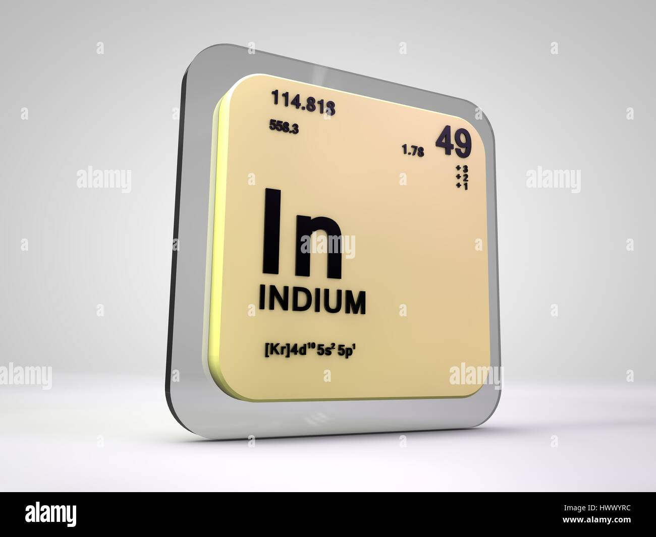 Indium in chemical element periodic table 3d render stock indium in chemical element periodic table 3d render gamestrikefo Images