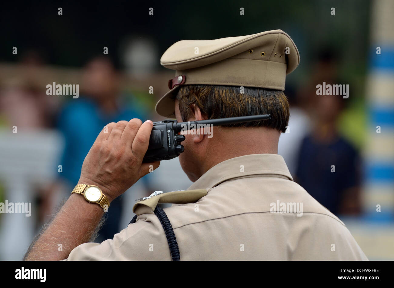 indian police with walkie talkie stock photo royalty free image