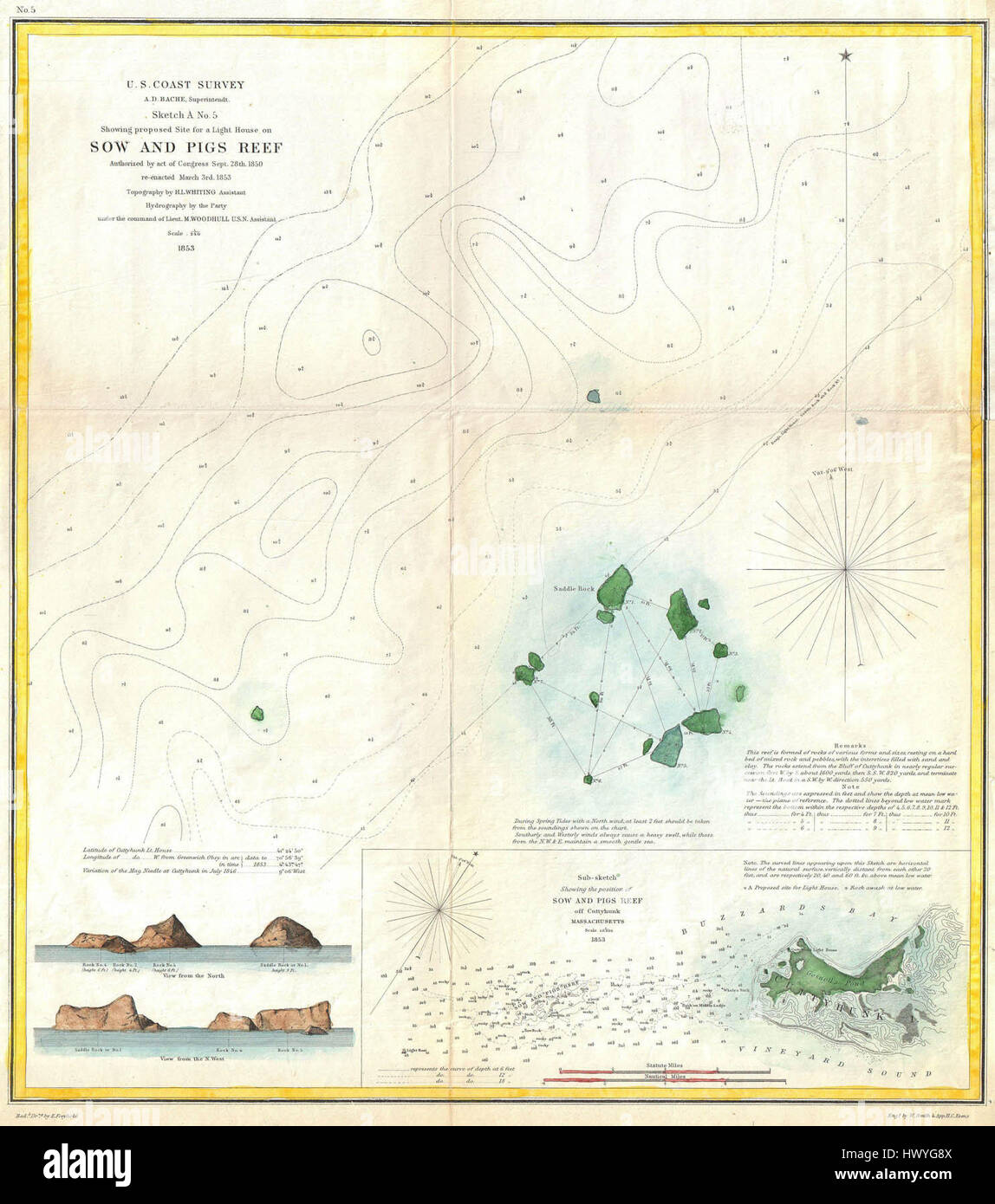 1853 US Coast Survey Map or Chart of Sow and Pigs Reef off