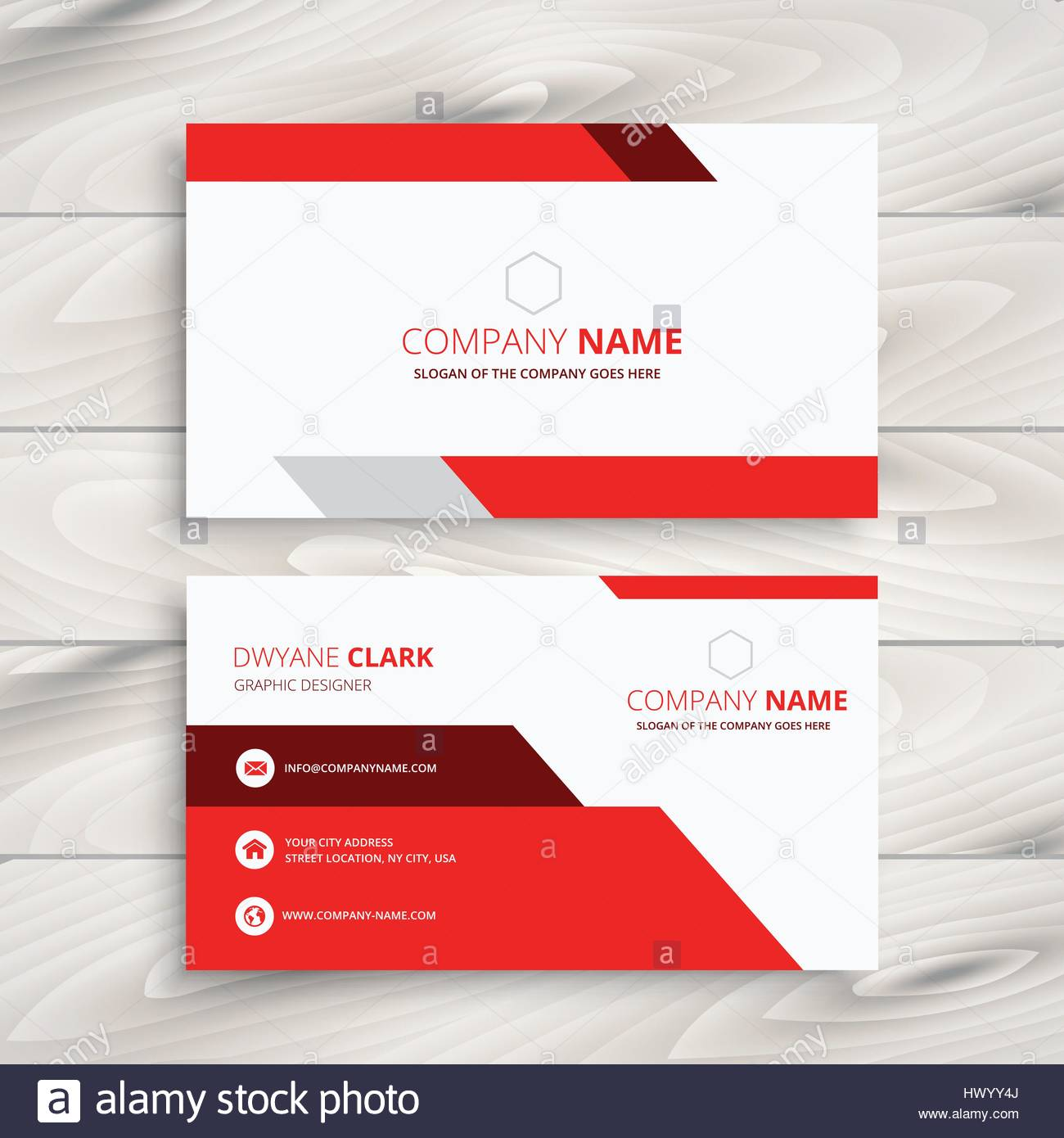 red modern business card template vector design illustration Stock ...
