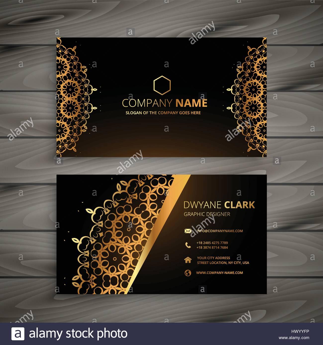 luxury golden ornament business card vector design illustration ...