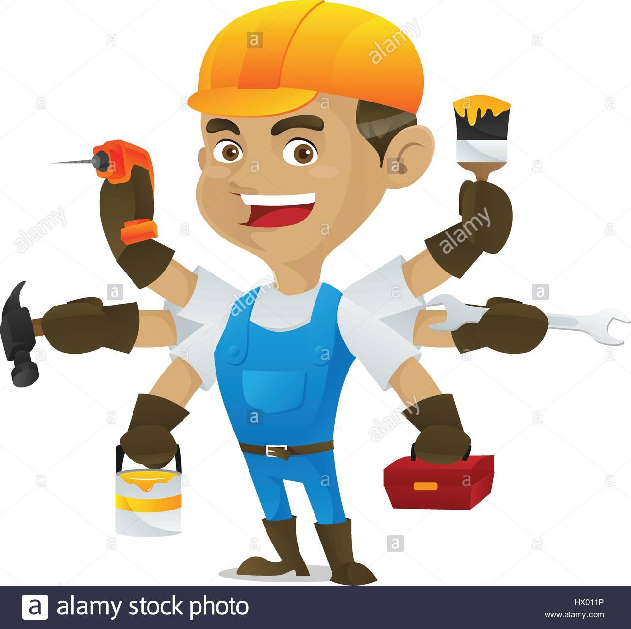 handyman holding multiple tools isolated in white background stock