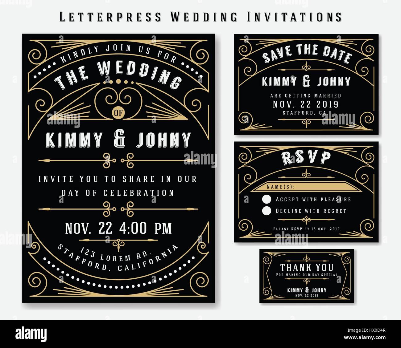 Art deco letterpress wedding invitation design template include art deco letterpress wedding invitation design template include rsvp card save the date card thank you tags classic vintage style frame stopboris Images