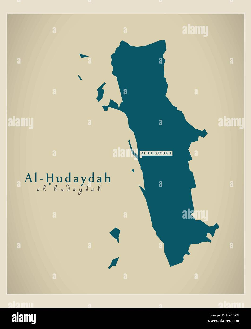 Modern Map Al Hudaydah YE Stock Vector Art Illustration Vector