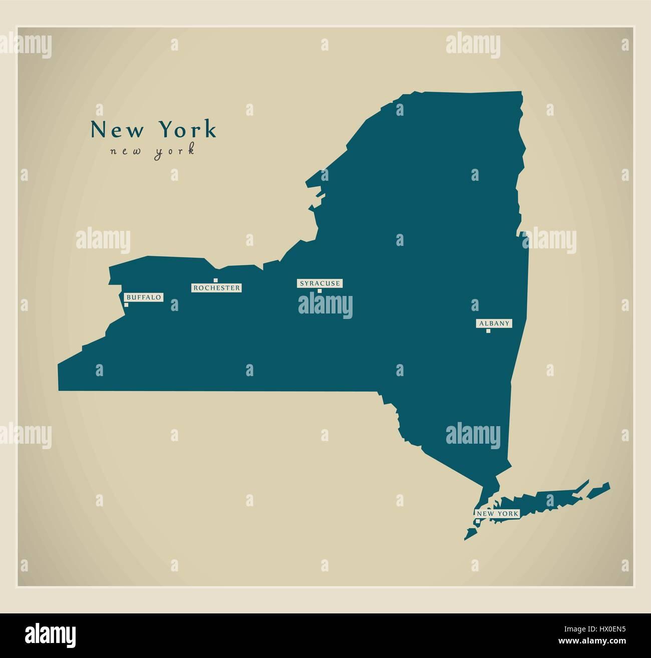 Modern Map New York USA Stock Vector Art Illustration Vector