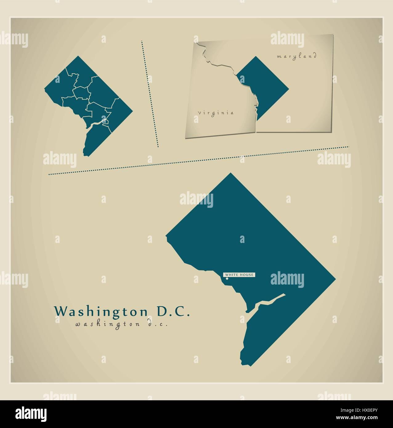 Modern Map Washington DC USA Stock Vector Art Illustration