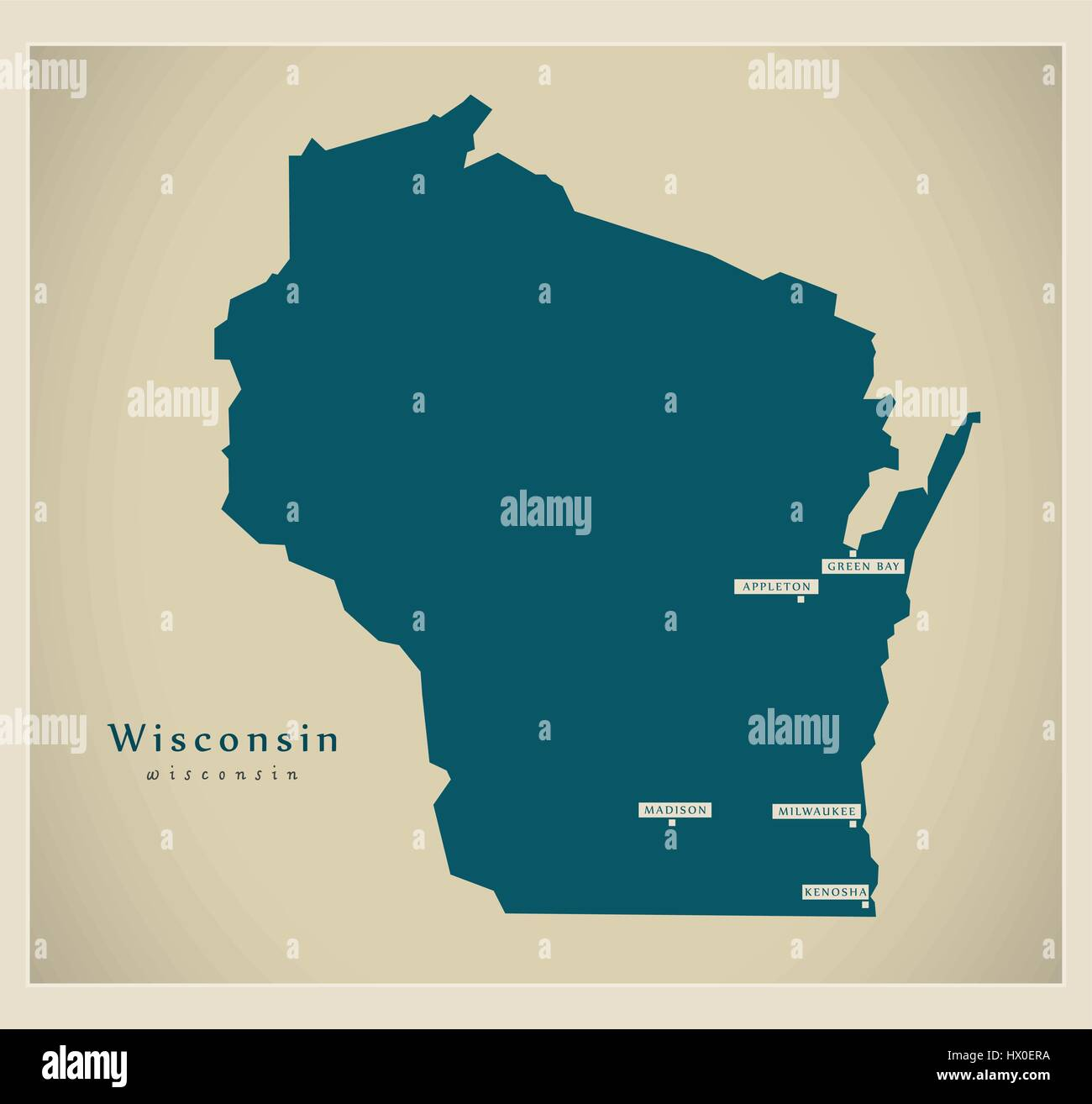 Modern Map Wisconsin USA Stock Vector Art Illustration Vector