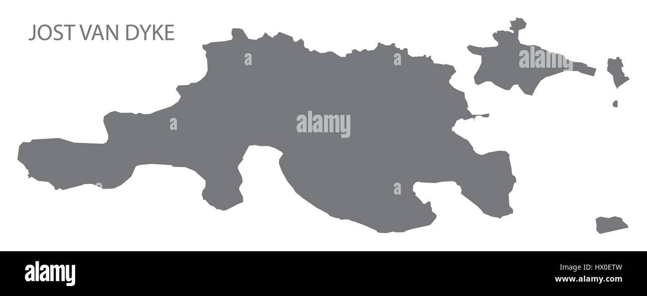 Jost Van Dyke British Virgin islands map grey illustration