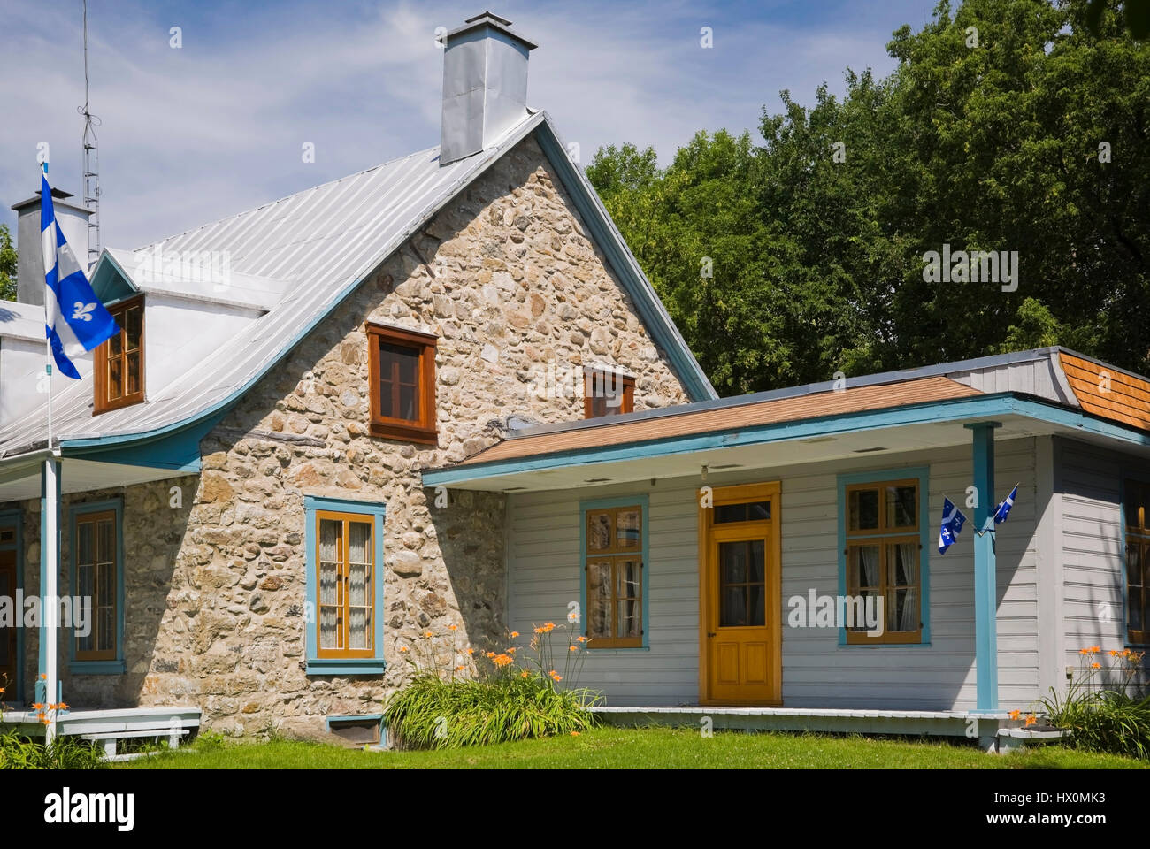 1810 old Canadiana fieldstone house with blue and orange trim in ...